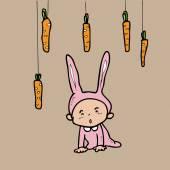 Кролик мальчик и морковь — Cтоковый вектор