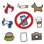 Prohibit signs drawing cartoon — Stock Vector