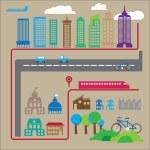 City and transportation urban — Stock Vector #71231735