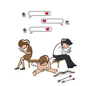 Couple and Cupid texing on mobile phone — Vector de stock