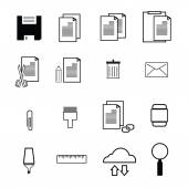 Computer command icons flat — Stock Vector