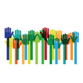 Colorful Hands raises up — Stock Vector