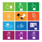 Hand money and wealth icons — Stock Vector