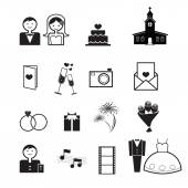 Wedding ceremony icons vector — Stock Vector