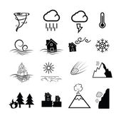 Disaster nature power icons — Stock Vector