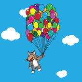 Wolf flying with balloons — Stock Vector