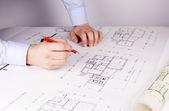 Architect, drawing, hand — Stock Photo