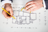 Architect drawing — Stock Photo