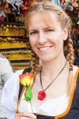 Oktoberfest woman tradtitional costume — Stock Photo