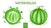 Fruits set - watermelon — Stock Vector