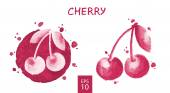 Fruits set - cherry — Vector de stock