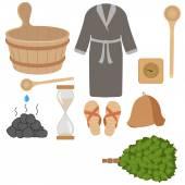 Vector set of bath accessories, sauna accessories in wooden sauna — Stock Vector