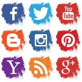 Av sociala ikoner isolerad på vit bakgrund — Stockvektor