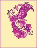 Magic fairy tale purple bird. — Stock Vector