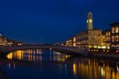 Night of San Ranieri with Luminara in Pisa view of the Ponte di Mezzo — Stock Photo