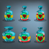 Bottles of love potion — Stock Vector