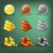 Resource icons for games. Gold, silver and copper. — Stock Vector