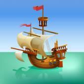 Wooden cartoon ship. — Stock Vector