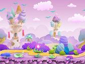 Seamless cartoon fairytale landscape — Stock Vector