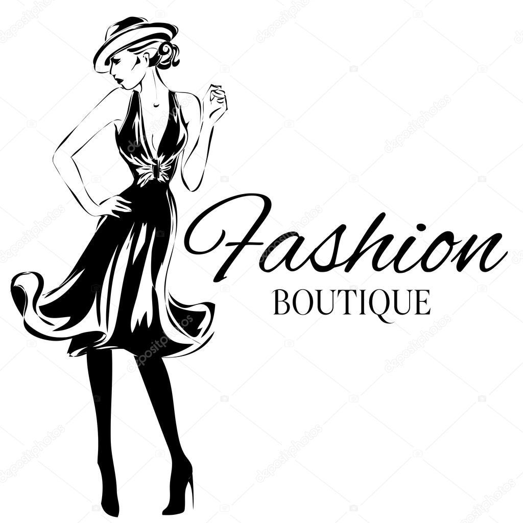 Logo De Boutique De Mode Avec Le Vecteur De Silhouette Femme Noir Et Blanc Image Vectorielle