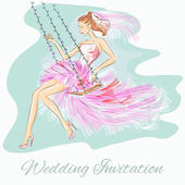 Wedding Day invitation with beautiful fiancee on a swing — Stock Vector