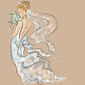 Wedding Day invitation with beautiful fiancee — Stock Vector