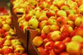 Many ripe yellow-red apples in boxes in the store — Stock Photo