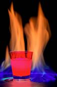 Red cocktail flame — Stock Photo