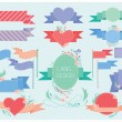 Set of retro labels, ribbons, banners and tags. Hearts and flowers. — Stock Vector #66046965