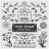 Set of hand drawn oriental brushes. Vintage frame, oriental decorations. Vector illustration. — Stock vektor