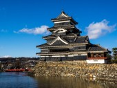 Japan Castle and Red Bridge — Stock Photo