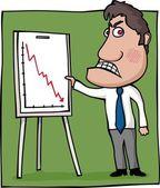 Angry boss linechart — Stock Vector
