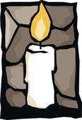 One candle — Stock Vector