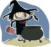 Witch and cauldron — Stock Vector