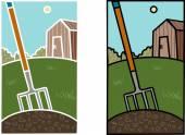 Garden fork — Stock Vector