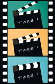 Clapperboard and film strip — Stock Vector