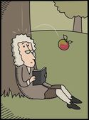 Isaac Newton and apple — Stock Vector