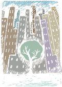 冬の市の木 — ストックベクタ