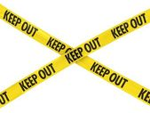 Yellow and Black KEEP OUT Tape Cross — Stock Photo
