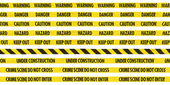 Yellow Hazard Tape Line Collection — Stock Photo