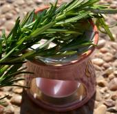 Aromatic lamp with branches of rosemary. — Stock Photo