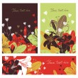 Vector Floral card set with place for your text. — Stock Vector #77710070