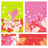 Vector Floral card set with place for your text. — Stock Vector