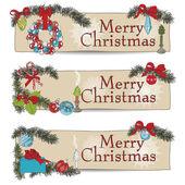 Ruky nakreslené vinobraní vánoční bannery Set. — Stock vektor