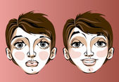 Different facial expressions of a woman — Stock Vector