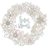 Gorgeous wreath woven from flowers — Stock Vector