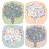 Set of four vintage bouquets of wildflowers. — Stock Vector