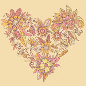 Heart of drawn vector flowers. — Stock Vector