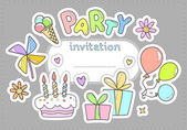 Invitation to a party for the children — Stock Vector