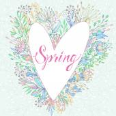 """Cute greeting card with the words """"Spring"""" — Stock Vector"""